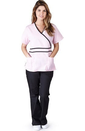 Natural Uniforms Women's Contrast Mock Wrap Scrub Set