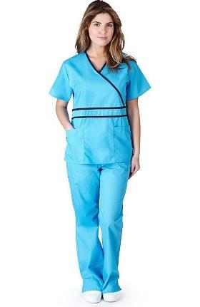 Natural Uniforms Women's Contrast Mock Wrap Scrub Set