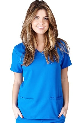 Ultrasoft Scrubs Women's V-Neck Fashion Seam Solid Scrub Top