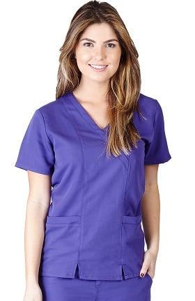Clearance Ultrasoft Scrubs Women's Mock Wrap Solid Scrub Top