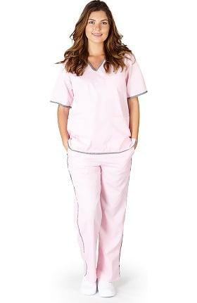 Clearance Natural Uniforms Women's Contrast Trim Scrub Set