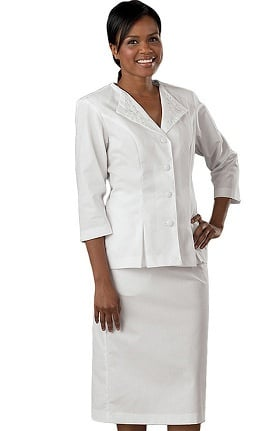 Peaches Uniforms Women's 3/4 Sleeve Embroider Collar Suit Scrub Dress