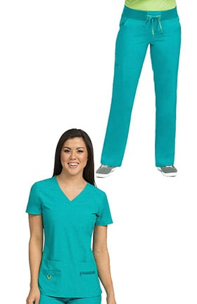 Activate by Med Couture Women's Refined V-Neck Solid Scrub Top & Transformer Drawstring Scrub Pant Set