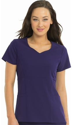 Clearance 4-EVER Flex By Med Couture Women's Dreamy Sweetheart Neck Solid Scrub Top