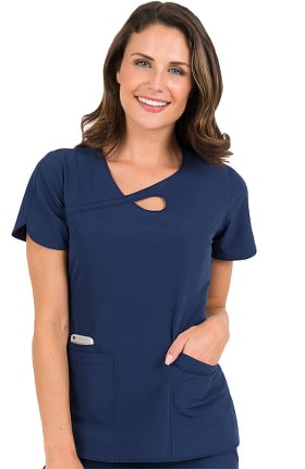 4-EVER Flex By Med Couture Women's Impact Loop Neck Solid Scrub Top