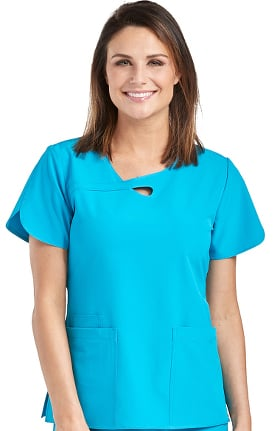 Clearance 4-EVER Flex By Med Couture Women's Impact Loop Neck Solid Scrub Top
