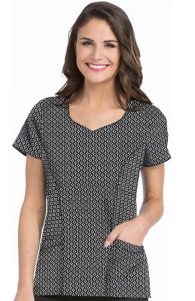 4-EVER Flex By Med Couture Women's Dreamy Geometric Print Scrub Top