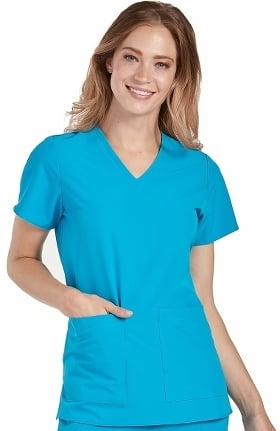 Clearance 4-EVER Flex By Med Couture Women's Admire V-Neck Solid Scrub Top
