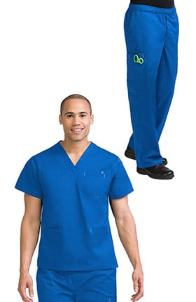 MC2 for Men by Med Couture Men's Classic V-Neck Solid Scrub Top & Zip Fly Cargo Scrub Pant Set