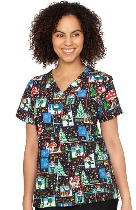 Originals by Med Couture Women's Anna No Place Like Gnome Print Scrub Top