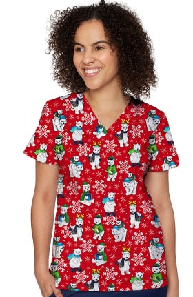 Originals by Med Couture Women's Anna Polar Flurries Print Scrub Top