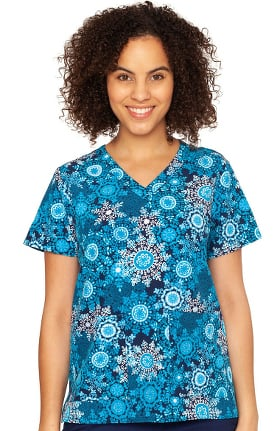Clearance Originals by Med Couture Women's Anna Snowflake Serenade Print Scrub Top