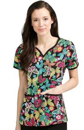 Clearance Med Couture Women's Natasha Notch Neck Butterfly Print Scrub Top