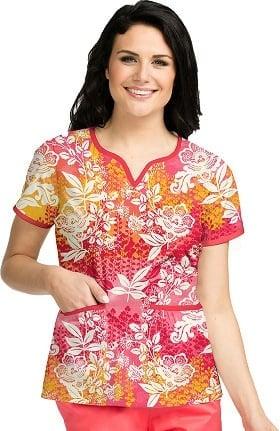 Clearance Peaches Uniforms Women's Natasha Notch Neck Floral Print Scrub Top