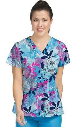 Med Couture Women's Valerie V-Neck Floral Print Scrub Top