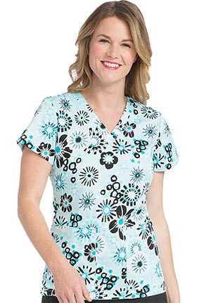 Peaches Uniforms Women's Valerie Floral Print Scrub Top