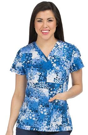 Clearance Med Couture Originals Women's Valerie V-Neck Floral Print Scrub Top