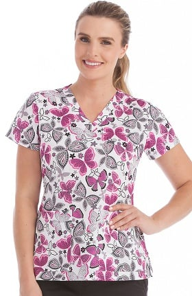 Clearance Peaches Uniforms Women's Valerie V-Neck Butterfly Print Scrub Top