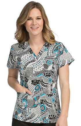Clearance Med Couture Women's Valerie V-Neck Floral Print Scrub Top