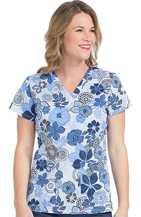 Clearance Med Couture Originals Women's Valerie Floral Print Scrub Top