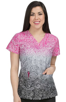 Med Couture Women's V-Neck Paisley Print Scrub Top