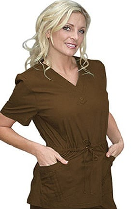 Clearance Peaches Uniforms Women's Katherine Heigl Stylized V-Neck Drawstring Solid Scrub Top