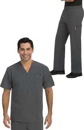 Activate by Med Couture Men's Sport V-Neck Solid Scrub Top & Sport Drawstring Scrub Pant Set