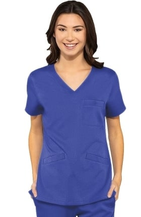 Touch by Med Couture Women's Classic Welted 3 Pocket Solid Scrub Top