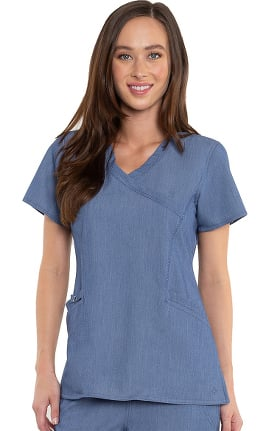 Touch by Med Couture Women's Venus Mock Wrap Solid Scrub Top