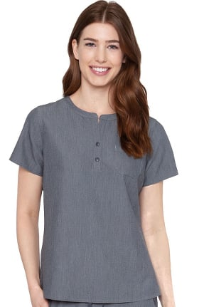 Touch by Med Couture Women's Henley Stretch Solid Scrub Top