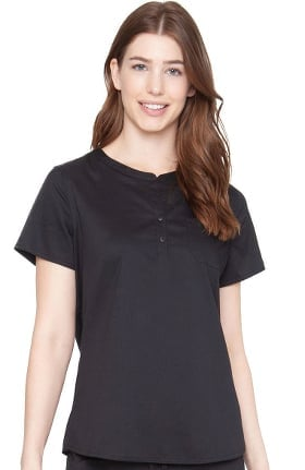 Clearance Touch by Med Couture Women's Henley Stretch Solid Scrub Top