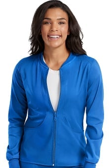 Touch by Med Couture Women's Performance Zip Front Solid Scrub Jacket