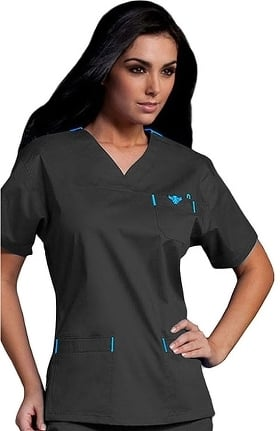 Clearance Med Couture Women's Sport Neckline Solid Scrub Top