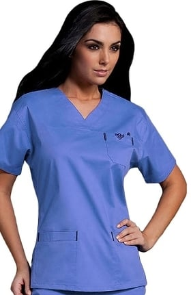 Clearance Med Couture Originals Women's Sport Neckline Solid Scrub Top