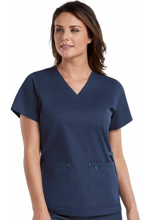 Clearance Med Couture Originals Women's V-Neck Strength Solid Scrub Top