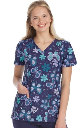 Activate by Med Couture Women's In Motion Butterfly Print Scrub Top