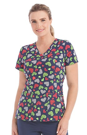Activate by Med Couture Women's In-Motion V-Neck Heart Print Scrub Top