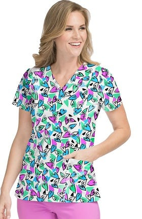 Activate by Med Couture Women's In Motion Heart Print Scrub Top