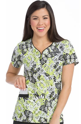 Air by Med Couture Women's Zippity Butterfly Print Scrub Top