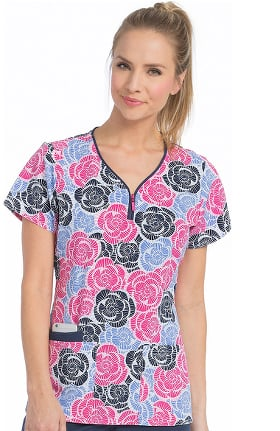 Air by Med Couture Women's Zippity Floral Print Scrub Top