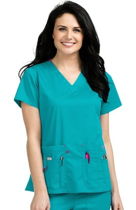 Clearance Med Couture Women's Rescue V-Neck Solid Scrub Top