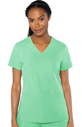 Peaches by Med Couture Women's Mirror V-Neck Solid Scrub Top