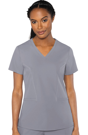 Clearance Peaches by Med Couture Women's Mirror V-Neck Solid Scrub Top