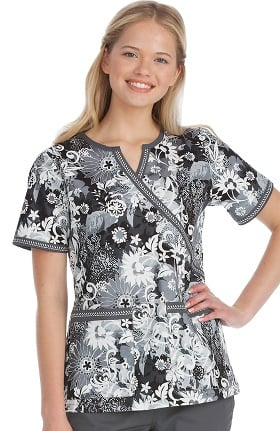 Clearance Med Couture Women's Chrissy Notch Y-Neck Floral Print Scrub Top