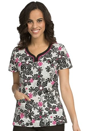 MC2 by Med Couture Women's Lexi Sport Neckline Floral Print Scrub Top