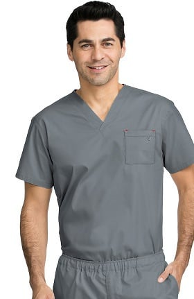 MC2 for Men by Med Couture Men's Tactical V-Neck Single Pocket Solid Scrub Top