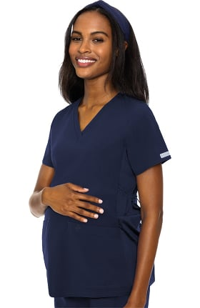 Med Couture Women's Maternity 4 Way Stretch V-Neck Solid Scrub Top