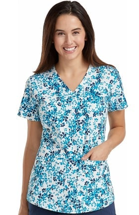 Clearance Energy by Med Couture Women's V-Neck Shirttail Floral Print Scrub Top