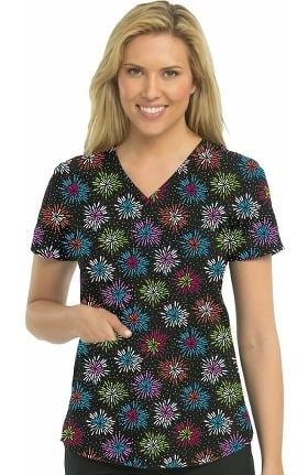 Clearance Energy by Med Couture Women's Serena V-Neck Shirttail Geometric Print Scrub Top