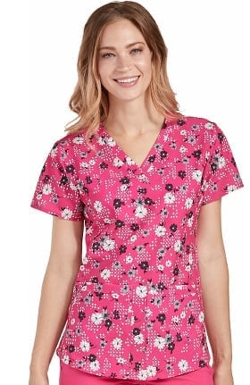 Energy by Med Couture Women's V-Neck Shirttail Floral Print Scrub Top
